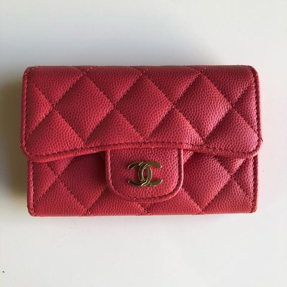 7fffc24647a5 CHANEL Handbags - Chanel Caviar Pink Snap Card Holder